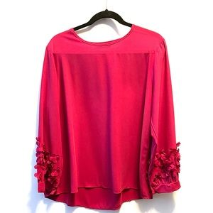 Long sleeve blouse with floral sleeve detail